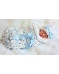 Chunky Hand Knit Baby Blue Set